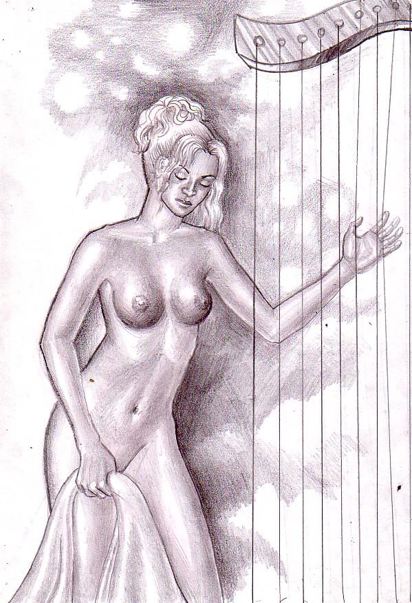 Nud cu harpa