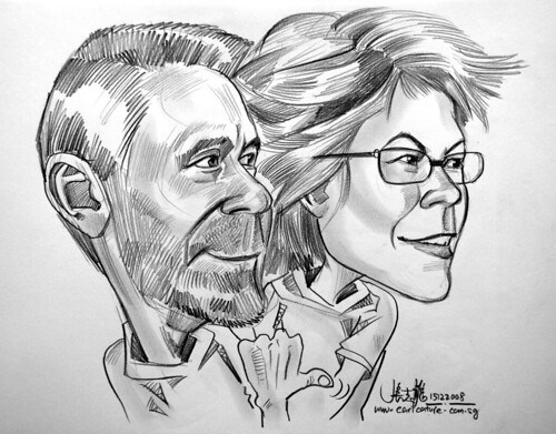 Couple caricatures in pencil 151008 - 3