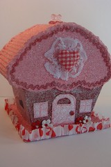 Original Cupcake Cottage Valentine Lollishops (skybluecrayons) Tags: pink original red white glitter paper beads heart handmade lace cottage sugar cupcake curtains recycle plaid puffy corrugated whimsical chipboard pinkice vintagerickrack primaflowers piecefulbits lollishops