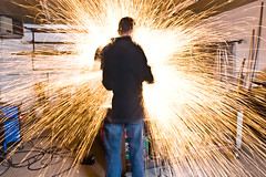 Grinding sparks 1 (Jeff Van de Walker) Tags: sculpture art jeff metal de fire photo iron steel welding working walker van sparks ironworks metalworking vandewalker gringing javos jeffvandewalker javosironworks