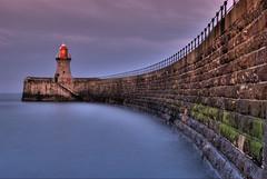 South Shields Pier from sea level using orange grad filter