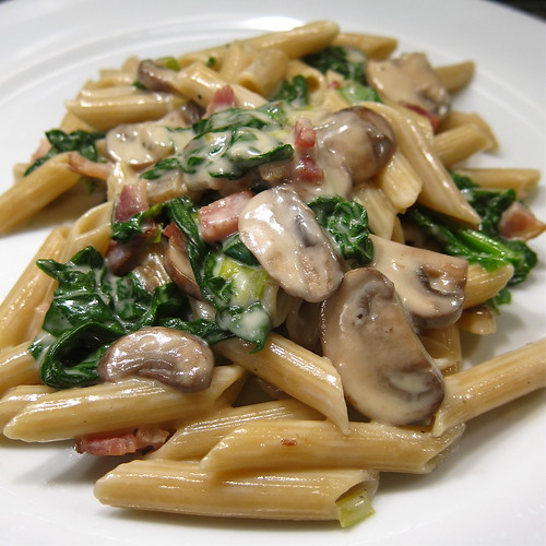 #115 - Penne with Creamy Spinach, Mushrooms & Bacon