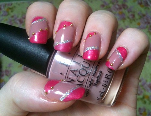 "Diagonal & reversed edge, holographic and ""bullion"" mani by KitaRei"