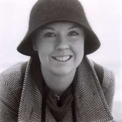 medium format alison (the brownhorse) Tags: portrait mamiya smile hat coat seafront alison trl c330 mrsbrownhorse mamiyatrl