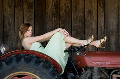 Bree-0617 (halpics2) Tags: tractor green beautiful nikon pretty teen prettygirl brea greendress seniorportrait nikkor24120vr feguson teenmodel nikond300 ferguson35