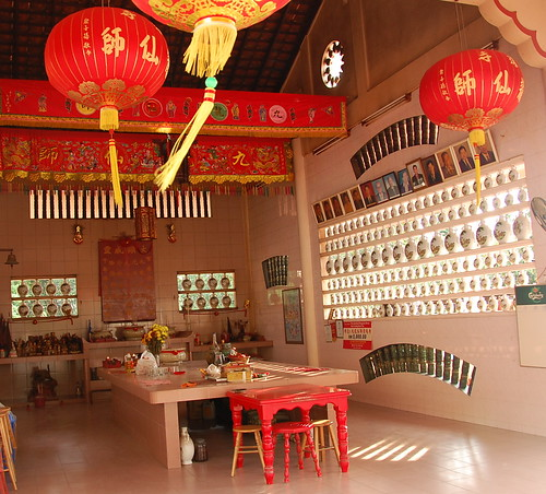 chinese temple of wine bottles