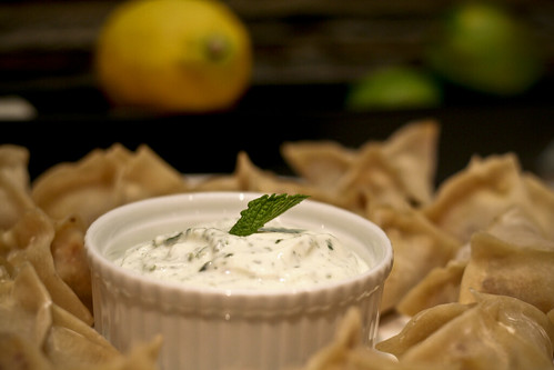 merguez dumplings w/mint yogurt dipping sauce