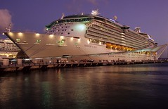 Freedom Of The Seas Cruise Ship, Hot Night In San Juan, Puerto Rico (Julian Fletcher.) Tags: longexposure cruise sea vacation sky usa film zeiss canon puerto eos freedom boat waves ship kodak puertorico cruising vessel rico contax nightime maritime cruiseship kodachrome shipping ektachrome seas rccl freedomoftheseas