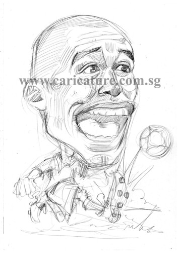 Caricature of David Trezeguet pencil sketch watermark