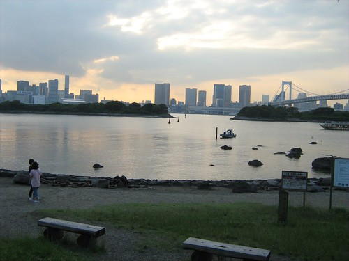 Waiting for the sunset at Odaiba