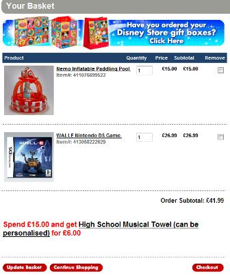 Disney shopping basket