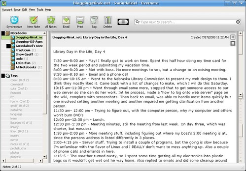 Evernote on Linux through Wine