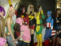 Marvel Group - Females (BelleChere) Tags: costume sandiego cosplay rogue marvel comiccon cci sdcc runaways spiderwoman msmarvel ltcamerica