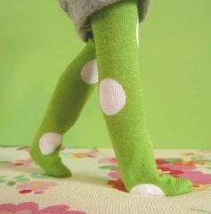 Lime green polka dots socks