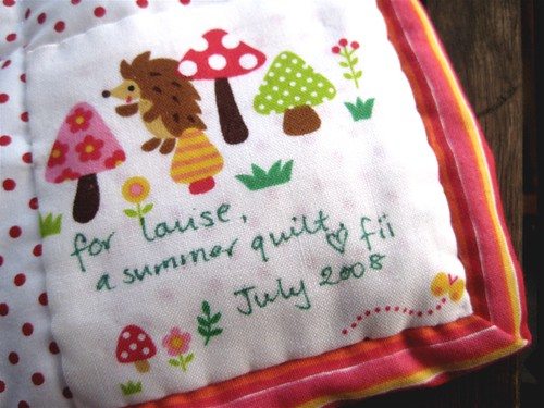 4 Seasons Quilt Swap - cute label