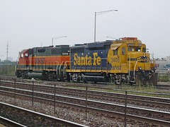 Two BNSF Railway locomotives heading eastbound and running light departing Clyde Yard. Cicero Illinois. September 2007.