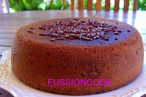 bizcocho de chocolate elaborado con FUSSIONCOOK