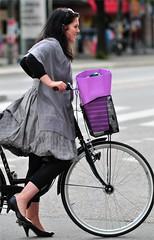 Bicycle girl with puffy skirt (nikkorglass) Tags: girls cute girl bicycle shirt nikon sweet sweden stockholm expression nikkor puffy 70200 cykel d300 flicka söt uttryck puffyskirt ballongkjol