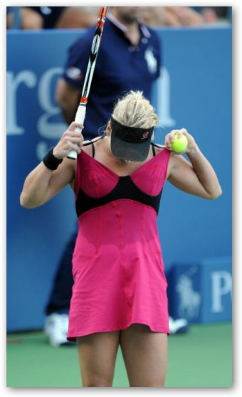 Bethanie Mattek Adjusts Dress