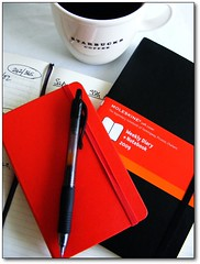 New Moleskine and coffee... (ElbtheProf) Tags: red black moleskine cup coffee pen diary starbucks mug hardcover pilotg2 softcover top20colorpix