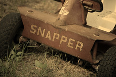 old summer grass cut lawn riding mower snapper
