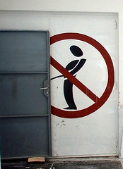 Open door- Open flies (ffitz) Tags: door man sign open croatia stick split urinate urinating urination