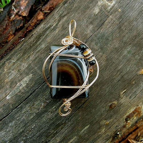 ECLIPSE - Gold Wire Wrapped Black Stripes Agate Pendant. Healing ...
