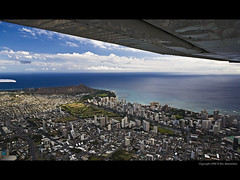Wings Over Waikiki (Rex Maximilian) Tags: ocean clouds airplane hawaii pacific waikiki oahu elevator flight aerial diamondhead flap airplanewing cessna172 aileron alawaicanal lowaltitude h1freeway alawaigolfcourse