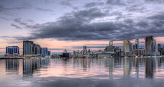 Melbourne docklands HDR (tim.mcrae) Tags: city cloud storm reflections lights harbour australia melbourne victoria telstra dome docklands cbd hdr rialto photomatix mywinners goldstaraward