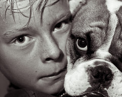 A boy and his dog (drewleavy) Tags: boy portrait bw dog pet max monochrome puppy eyes close bulldog explore blonde freckles mansbestfriend k9 kegan boyanddog cannine britishbulldog kegancamp drewleavypetsassignment