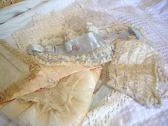 silk and lace treasures (skblanks) Tags: pink blue baby white eye vintage ruffles mask lace antique cottage victorian silk romantic ribbon chic bonnet rosette holder hanky shabby ecru