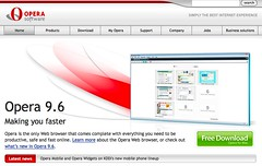 Opera browser: Home page