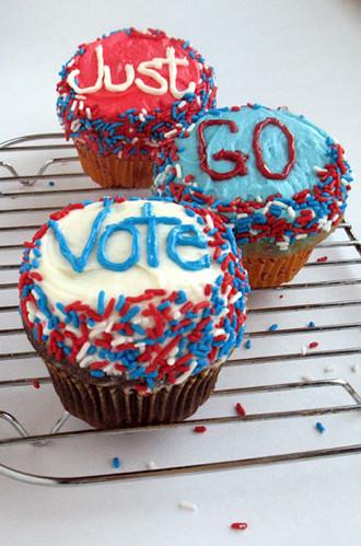 Just Go Vote cupcakes