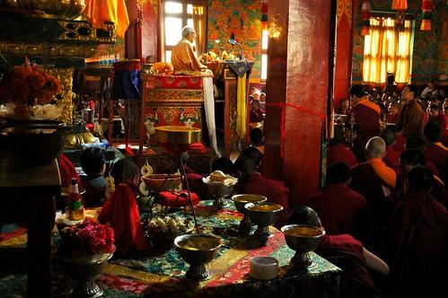 Vajrayogini Front Facing Shrine Mandala Offering, His Holiness Jigdal Dagchen Sakya leading the empowerment into practice, Tharlam Monastery, Boudha, Kathmandu, Nepal