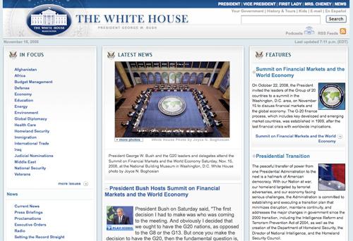 imagen actual de la web whitehouse.gov