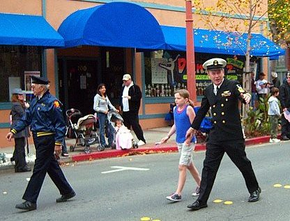 Antioch Councilman Arne Simonsen, and retired Navy chief, walks in the Nov. 11 Antioch Veterans Day parade.