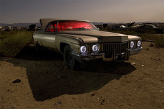 Mrs. B (Lost America) Tags: lightpainting abandoned car night cadillac fullmoon junkyard 1972 coupedeville highway395 nocturnes pearsonville