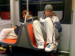Trainstalking (davitydave) Tags: sf sanfrancisco urban bus subway reading publictransportation homeless muni commuter passenger passedout sfist dirtyfeet trainstalking