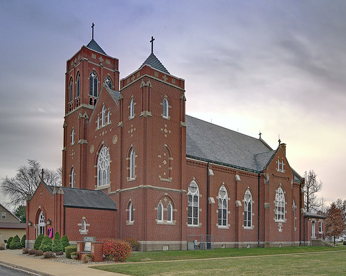 Saint Bernard Roman Catholic Church, in Albers, Illinois, USA - exterior side