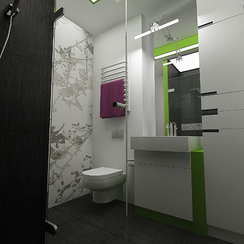 Green Bathroom ornament in private apartament, Cracow, by InsideLab