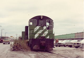 Burlington Northern industrial  switching local on South Paulina Avenue. Chicago Illinois. November 1983.