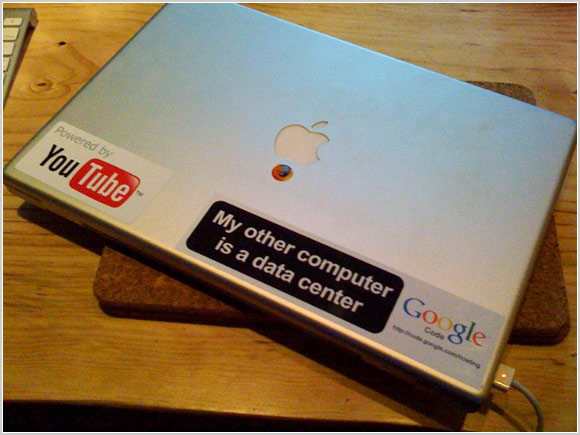 Laptops with lots and lots of geeky stickers - Pingdom Royal