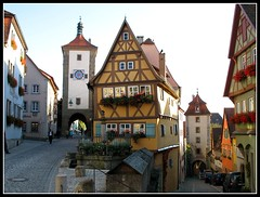 The most famous Place - Rothenburg ob der Tauber, Bavaria Germany (Batikart ... handicapped ... sorry for no comments) Tags: city travel autumn vacation sky people house holiday flower building fall window architecture canon germany geotagged bayern deutschland bavaria town holidays europa europe cityscape leute village urlaub herbst himmel haus f100 medieval historic stadt architektur 2008 altstadt oldtown vacanze halftimbered 2007 reise taubertal citywall canonpowershot middleage a610 fachwerk rothenburgobdertauber huser stadtmauer mensch ansbach historisch mittelfranken fachwerkhaus mittelalter walledtown townwall fachwerkhuser tauber rothenburgodtauber canonpowershota610 romanticroad romantischestrasse wehrgang 100faves siebersturm plnlein 200faves viewonblack middlefranconia batikart kobolzellertor