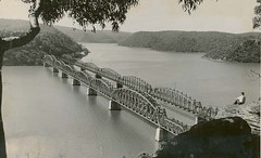 Bridges over the Hawkesbury River (State Records NSW) Tags: people blackandwhite river bridges archives newsouthwales hawkesburyriver staterecordsnsw hawkesburybridge