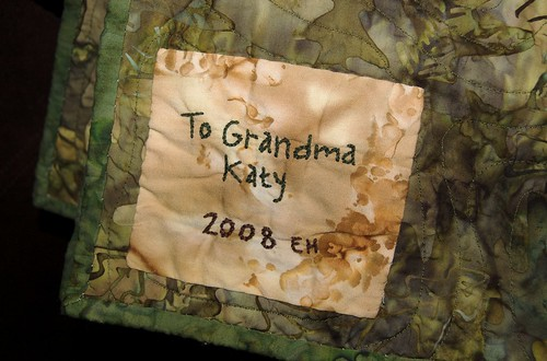 Grandma Katy's quilt label