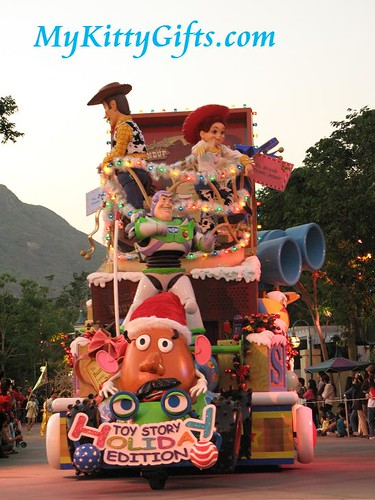 Hello Kitty's View of Toy Story Parade Cart in 'Let it Snow' Christmas Parade, Hong Kong Disneyland
