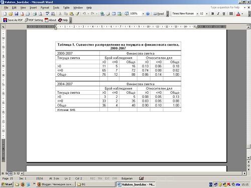 Съвместно разпределение на текущата и финансовата сметка