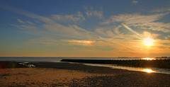 Sunset on Christmas day 2008 (DRLong) Tags: ocean sunset beach water clouds pier sand ct westport buryinghill