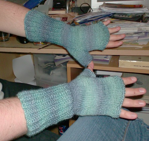 Men's fingerless gloves blue Rowan Tapestry