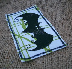 Bat on White and Green Patch (Knottwood) Tags: handmade fabric silkscreen etsy patch printed